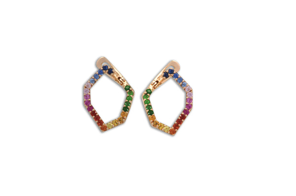 Origami Skinny Single Link no.5  Rainbow Sapphire Earrings