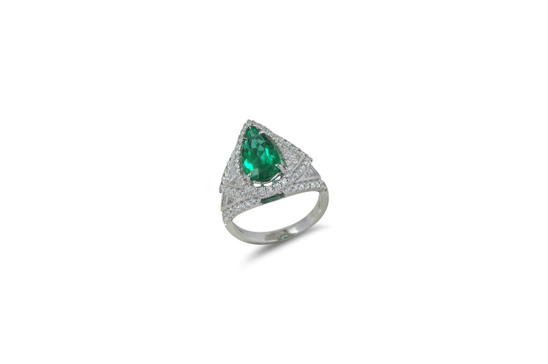 Origami Emerald Diamond Ring