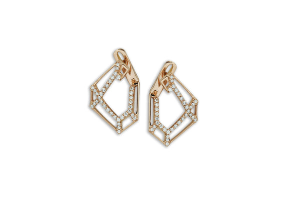 Origami Link no.5 Skeleton Diamond Earrings Medium
