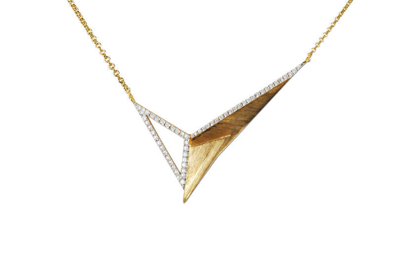 Origami Brushed Gold Series 3 Necklace