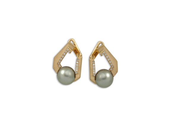 Origami Link no 5 Pearl & Diamond Earrings (Medium)
