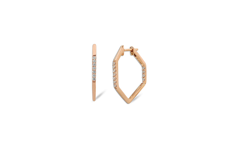 Origami Link no.5 Diamond Hoop Earrings Petite