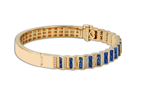 Agamo 1.0 Blue Sapphire Diamond Bangle