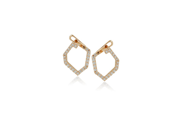 Origami Skinny Single Link no.5  Diamond Earrings