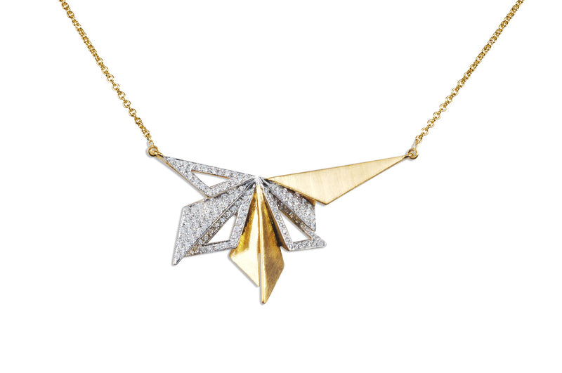 Origami Brushed Gold Series 8 Necklace