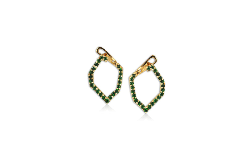 Origami Skinny Single Link no.5  Tsavorite Earrings