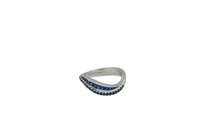 Talay Duo Wave Blue Sapphire Ring in White Gold