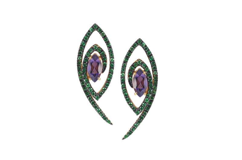 Talisman: The Eye Amethyst, Tsavorite Earrings