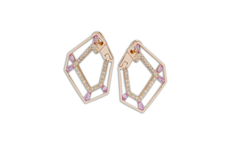 Origami Link no.5 Skeleton Pink Sapphire & Diamond Earrings Grande