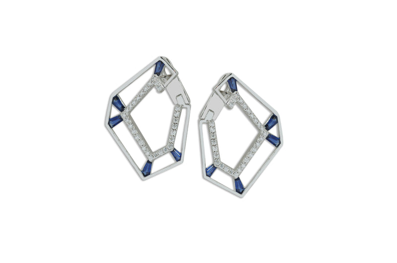 Origami Link no.5 Skeleton Sapphire & Diamond Earrings Grande