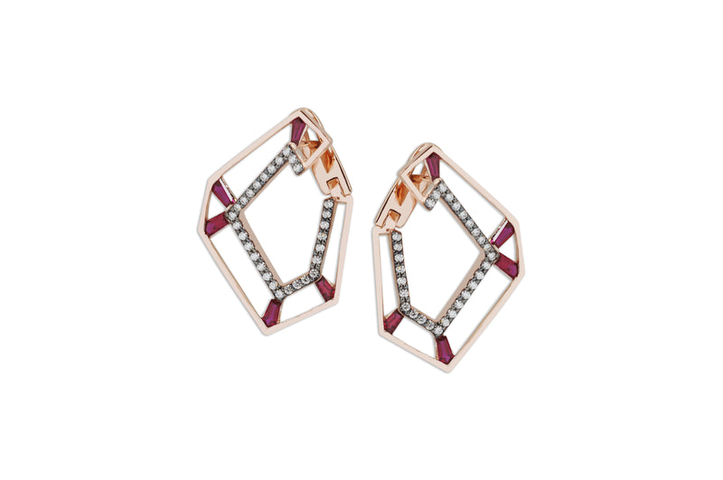 Origami Link no.5 Skeleton Ruby & Diamond Earrings Grande
