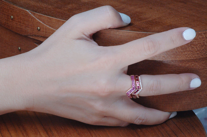 Origami Ziggy Pink Sapphire Ring in Rose Gold