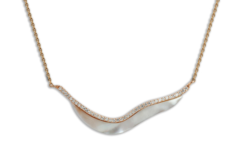 Talay Wave 19 Mother-Of-Pearl Diamond Necklace in Rose Gold