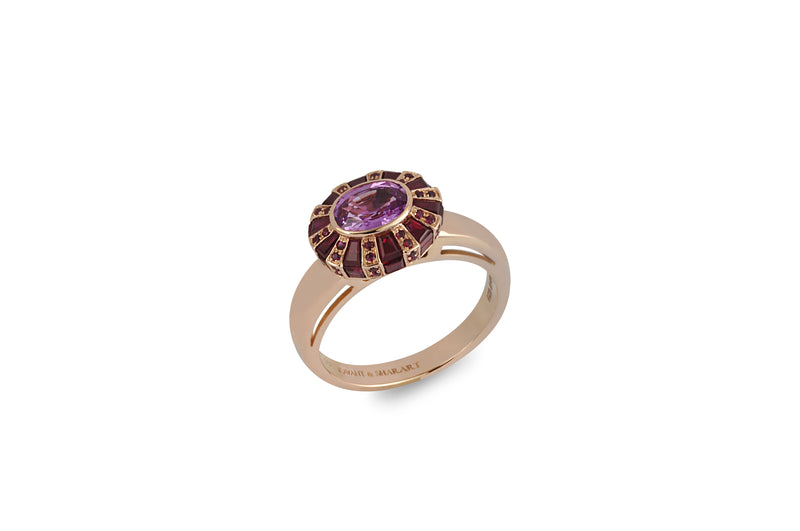 KS Classic Oval Ruby and Pink Sapphire Ring set in Rose Gold (petite)