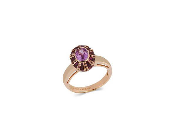 Classic 64 Twist Oval Ruby and Pink Sapphire Ring set in Rose Gold