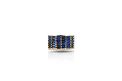 Classic Blue Sapphire Cigar Ring set in Yellow Gold