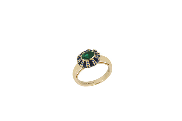 Classic 64 Twist Oval Emerald & Blue Sapphire Ring