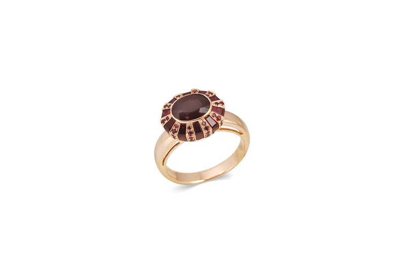 Classic 75 Oval Ruby Ring set in Rose Gold