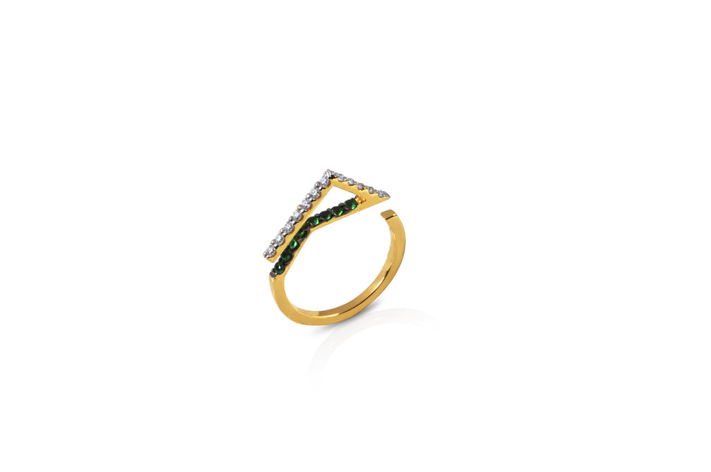 GeoArt Happy Trillion Tsavorite & Diamond Ring