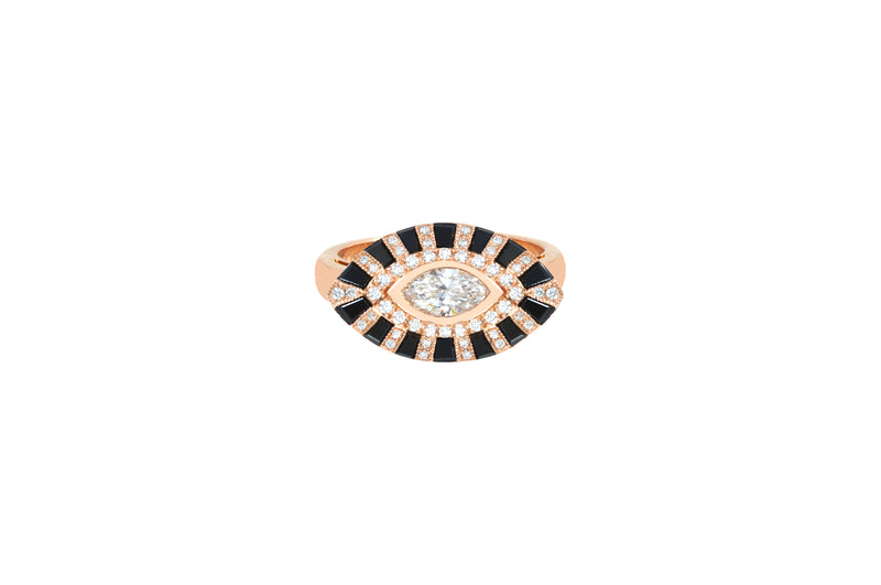 Classic Twist Marquise Black & White Diamond Ring set in Rose Gold