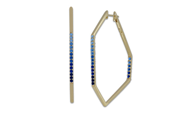 Origami Link no.5 Ombre Sapphire Hoop Earrings Grande