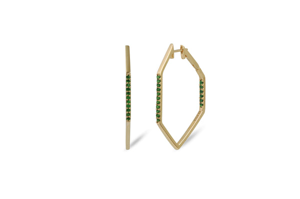Origami Link no.5 Tsavorite Hoop Earrings Medium