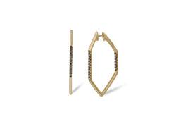Origami Link no.5 Diamond Hoop Earrings Medium