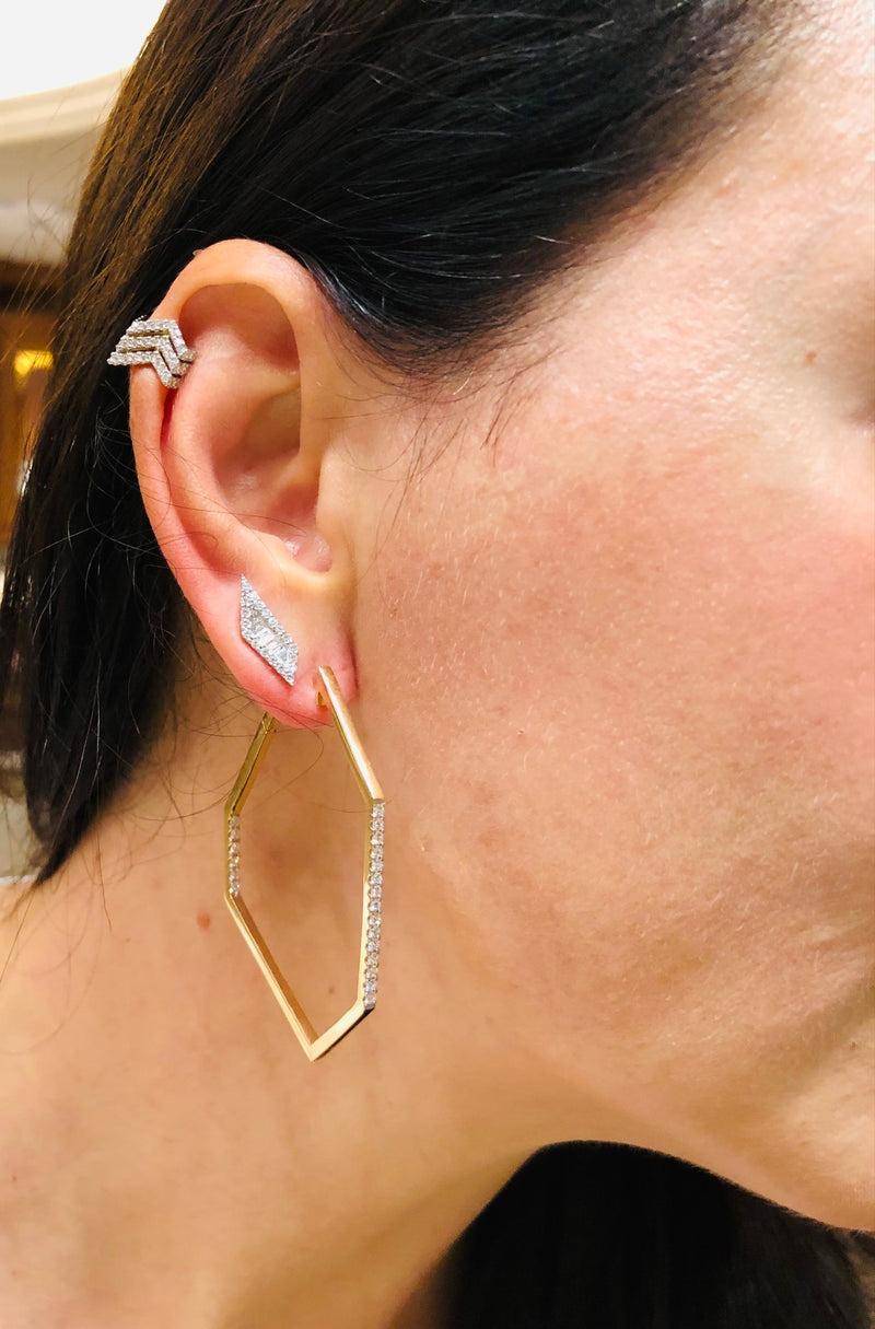 Origami  Ziggy Ear cuff Earrings in Rose Gold