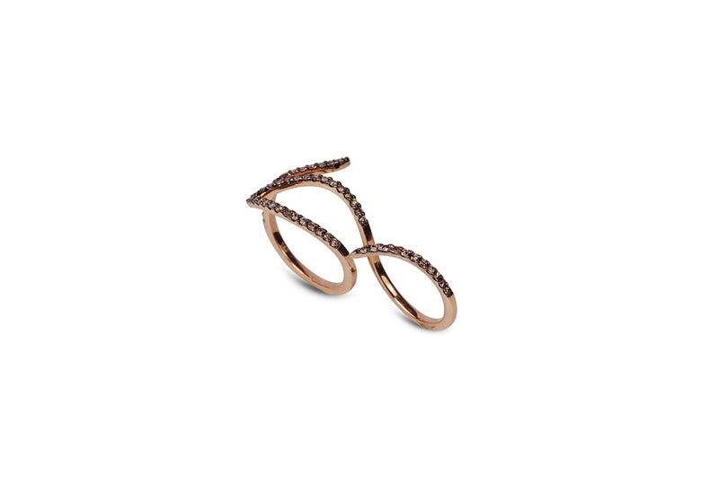 Le Phoenix Two-Finger Diamond Rose Gold Ring
