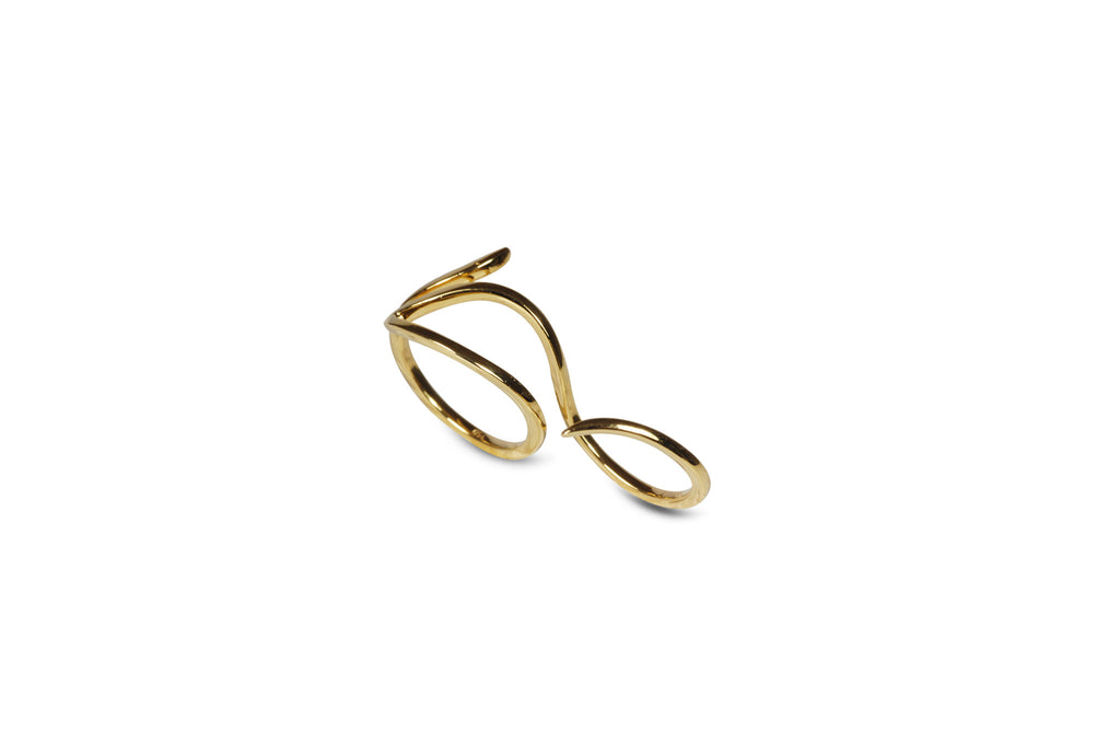 Le Phoenix Two-Finger Yellow Gold Ring
