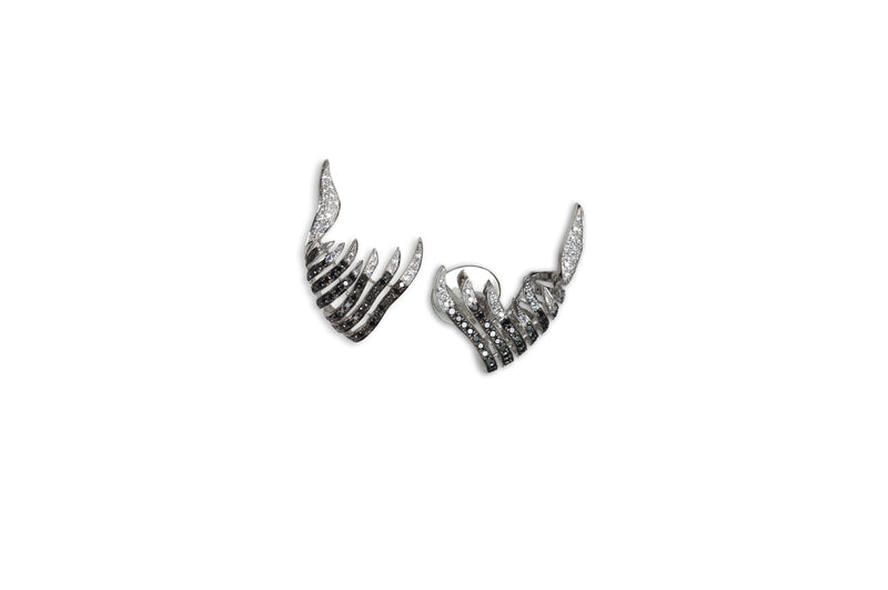 Le Phoenix Enchanted Black and White Diamond Earclimber Earrings