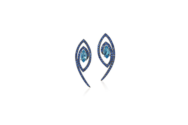 Talisman: The Eye Topaz, Blue Sapphire Earrings