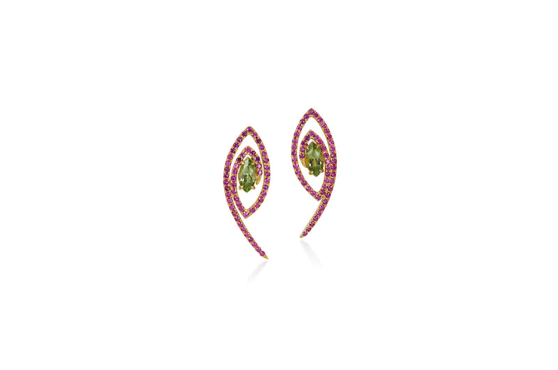 Talisman: The Eye Peridot and Pink Sapphire Earrings
