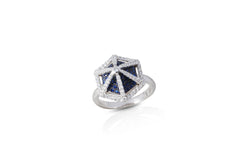 GeoArt Basic Hexagon Sapphire and Diamond Ring