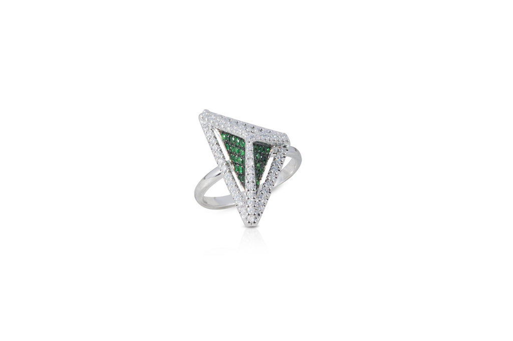 GeoArt Basic Triangle Tsavorite and Diamond Ring