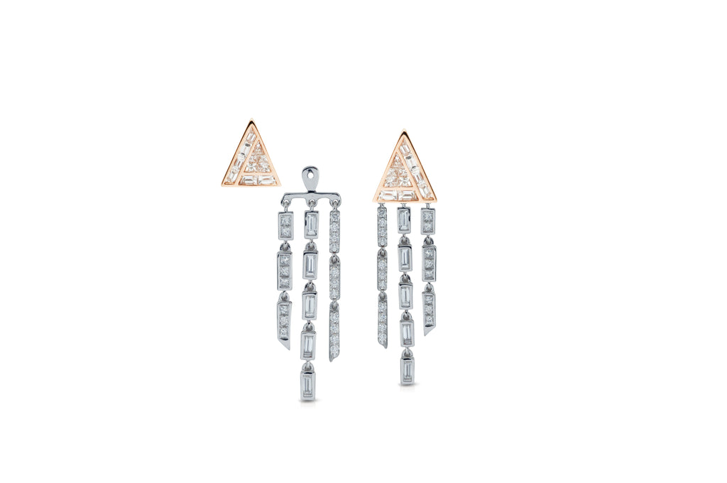 GeoArt Back to Basics Trillion Puzzle Fringe Earrings
