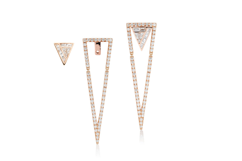 GeoArt Back to Basics Trillion Puzzle Ear Jacket Earrings