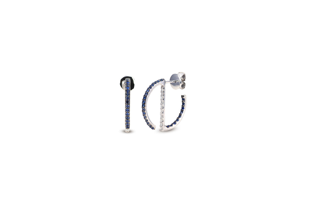 GeoArt Round Mini Hoop Sapphire & Diamond Earrings