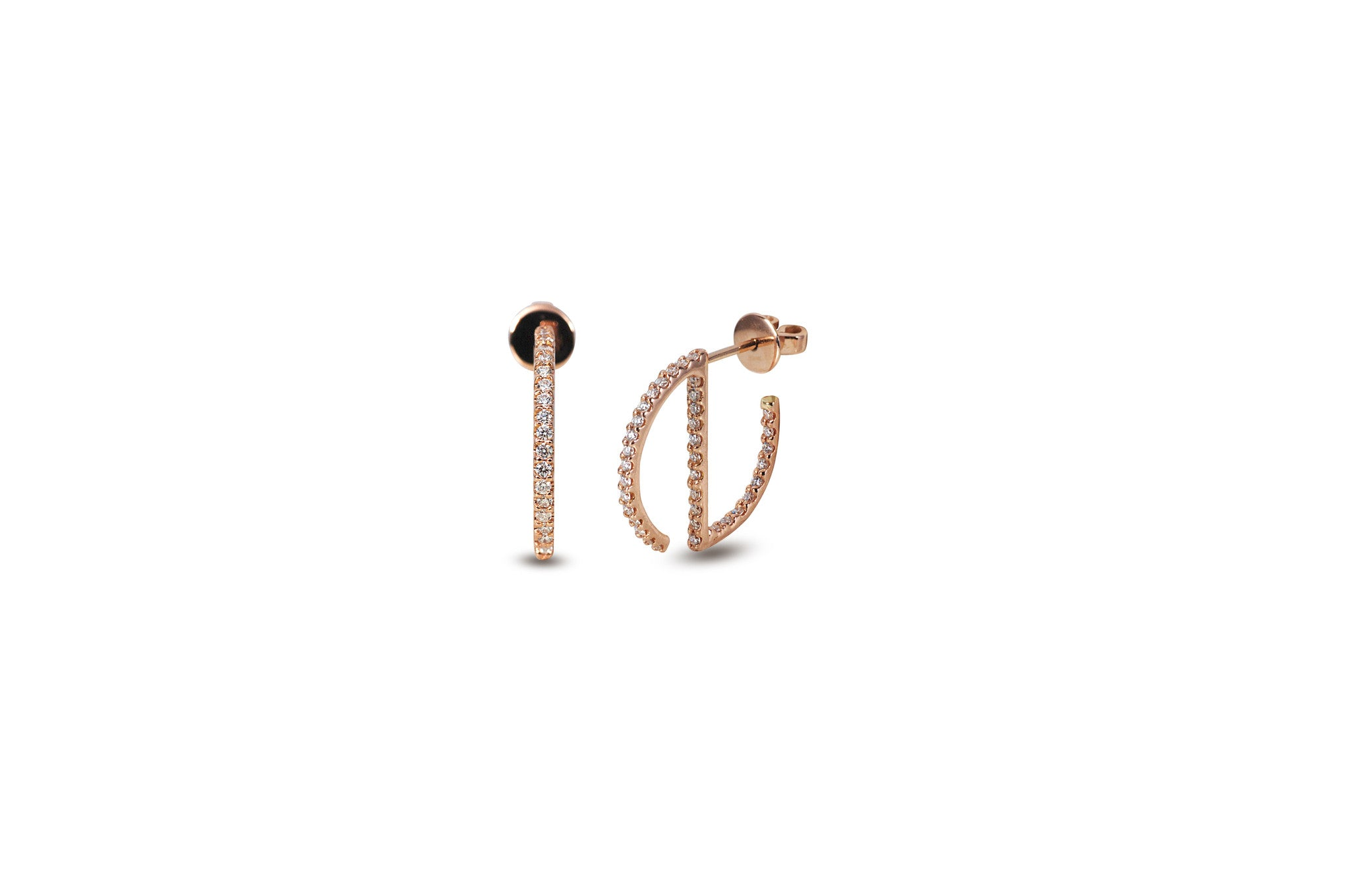 GeoArt Round Mini Hoop Diamond Earrings