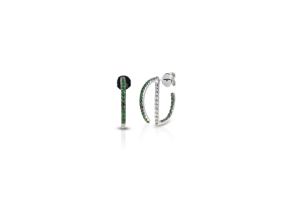 GeoArt Round Mini Hoop Tsavorite Earrings