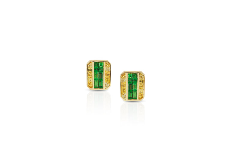 GeoArt Back to Basics Emerald Puzzle Stud Earrings