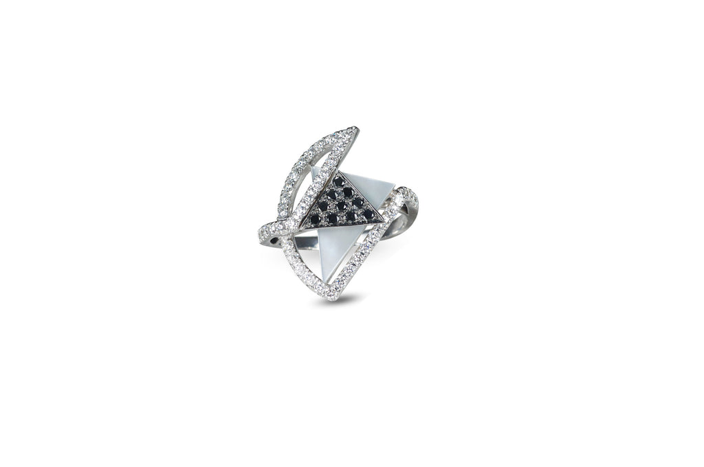 GeoArt TTR Series Mother-of-Pearl & Diamond Ring