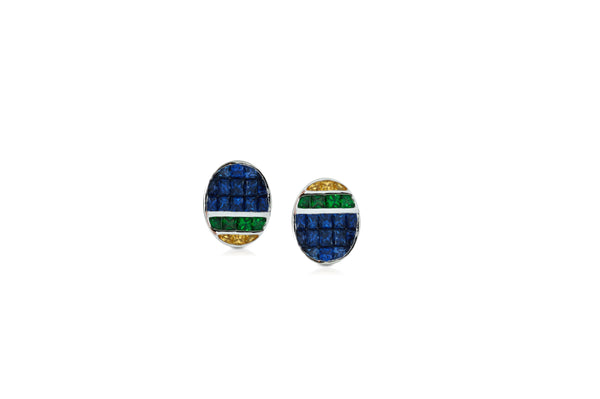 GeoArt Back to Basics Oval Puzzle Stud Earrings