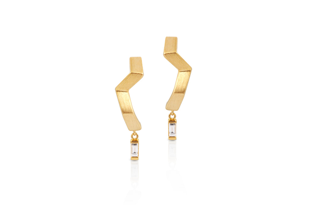 Origami Ziggy  Diamond Minimalist Gold Earrings (Brushed Gold)