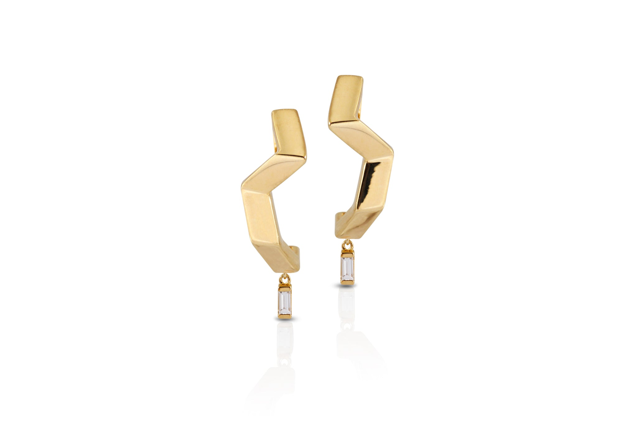 Origami Ziggy Minimalist Diamond Brushed Gold Earrings