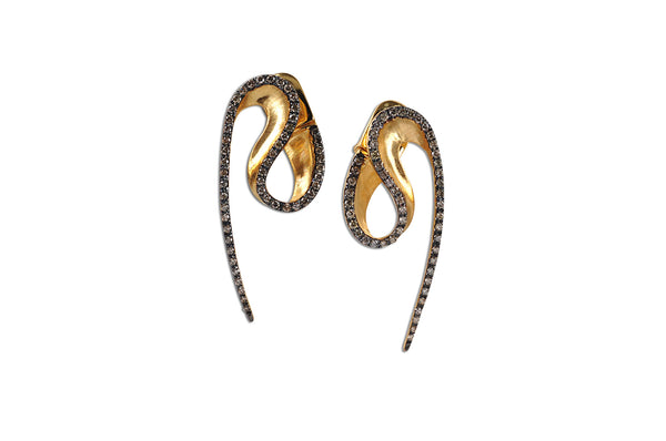 Talay Wave Brushed Gold Earrings