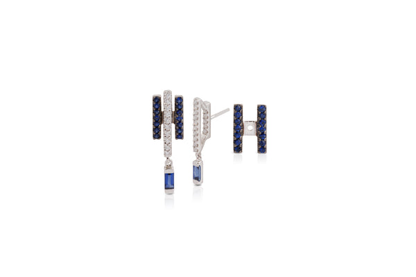 GeoArt Happy Movement Blue Sapphire Ear Jacket Earrings