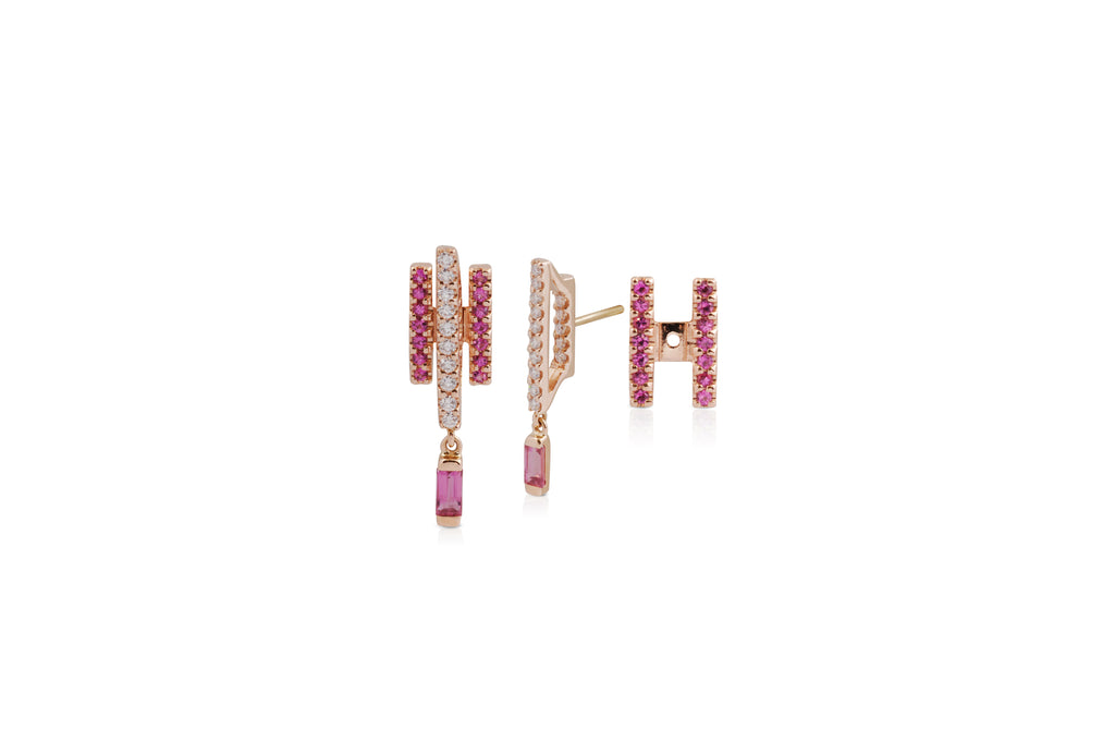 GeoArt Happy Movement Pink Sapphire Ear Jacket Earrings