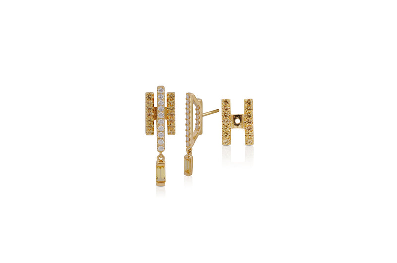 GeoArt Happy Movement Yellow Sapphire Ear Jacket Earrings