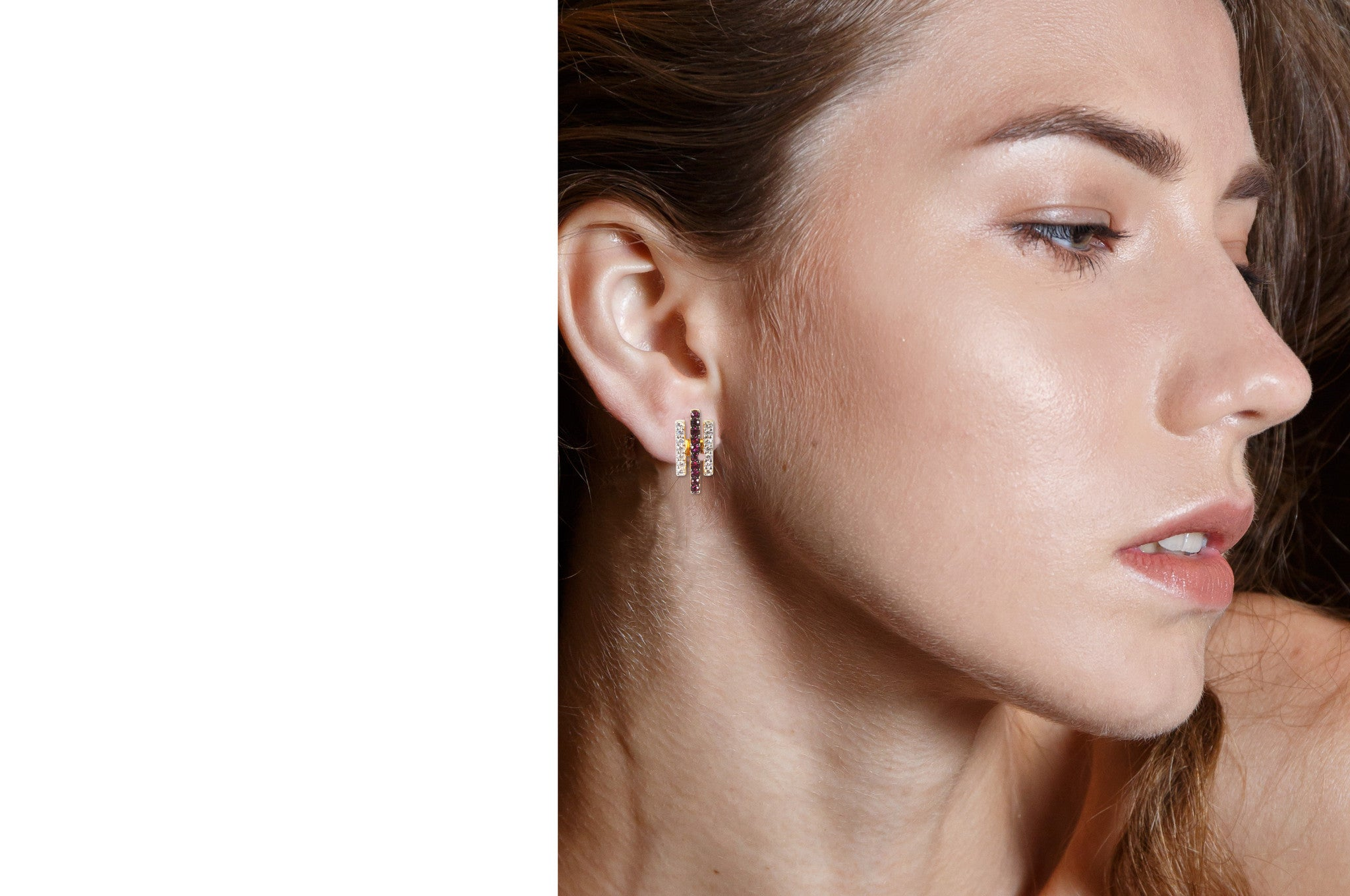 GeoArt Happy Trapeze Ear Jacket Earrings
